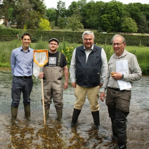 Tom Day Head of Living Landscapes HMWT, David Johnson Living Rivers Officer HMWT, Sir Oliver Heald MP, Robin Cole volunteer warden Tewinbury