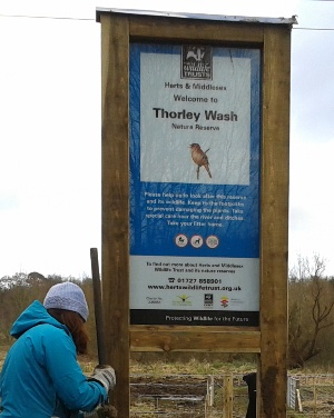 Thorley Wash Nature Reserve sign